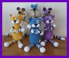 Amigurumi, animal au crochet, chat milticolor : Jeux, jouets par marygurumi