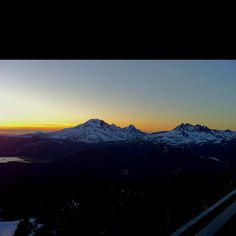 Sunset from Mt. Bachelor, Oregon overlooking the 3 sisters-coldest skiing we've ever done.