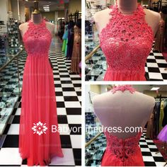 Halter Lace A-Line Prom Gowns Open Back 2016 Evening Dresses with Beadings