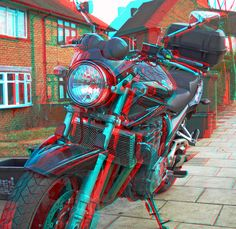 Suzuki Bandit motorcycle GSF1200 K6 in anaglyph 3D red blue glasses to view