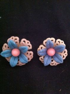 Vtg Celluloid Lacey Flower Earrings Pink Blue Screw Backs | eBay