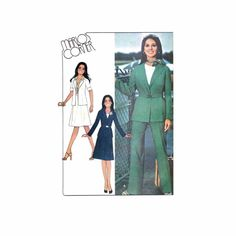 1970s Misses Unlined Jcaket Skirt Pants Marlo's Corner McCalls 4965 Vintage Sewing Pattern