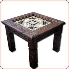 A square solid hand carved cedar table with marble mosaik center. The raw marble is carefully set in a three dimensional design that can be felt atop. Upscale Furniture, Moroccan Furniture, Moroccan Side Table, Cedar Table, Square Tables, Poker Table, Three Dimensional, Hand Carved, Marble