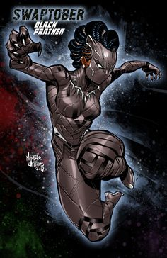 Black Panther - FEMALE Black Panther for Swaptober - if T'Challa was Queen of Wakanda Black Panther Marvel, Female Black Panther, Shuri Black Panther, Black Panther Art, Comic Books Art, Comic Art, Book Art, Black Love Art, Black Girl Art