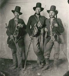 Anonymous Old Time Badasses Three lieutenants from the 105th Ohio. Stopped in for a group photo somewhere in Tennessee, July 1863.