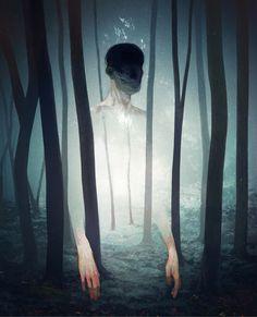 Digital Illustrations by Sergey Kritskiy - Death - Stag - White heart - Forrest - spiritual Art And Illustration, Illustrations And Posters, Landscape Illustration, Photomontage, Kunst Online, Art Sculpture, Surreal Art, Dark Art, Fantasy Art