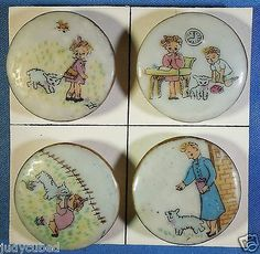 "SET 4 Nursery Rhymes Buttons ""Mary AND HER Lamb"" 1950'S Ceramic 1 "" DIA 