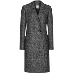Reiss Zanna Bonded Crombie Coat, Grey/Black ($440) ❤ liked on Polyvore featuring outerwear, coats, long coat, long wool coat, crombie coat, black coat and slim coat