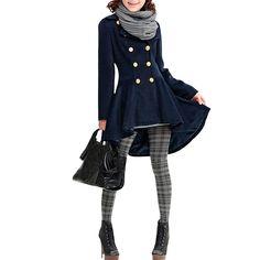Long Sleeve Convertible Collar Pleated Hem Slim Fit Women Outwear