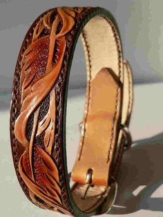 Hand tooled leather dog collar by AcrossLeather on Etsy, $75.00