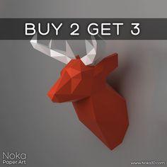 Ciervos trofeo cabeza modelo de papercraft 3D. por NokaPaperArt