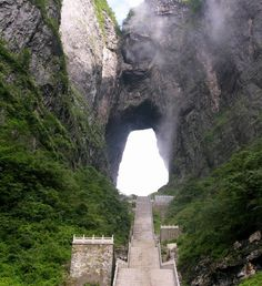 "Heaven's Gate Mountain,ChinaYou'll climb 999 grueling steps to an opening in the mountains  The number 999 was selected as lucky since the number 9 has the same pronunciation as the word that means ""eternal,"" or ""perpetual,"" in Mandarin which may seem cruelly appropriate to those who attempt the climb.Just to get to the base of the staircase, visitors must first take a cable car that climbs 4,000 feet or a bus along a mountain road so winding it's been compared to a dragon's back."