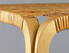The leg construction of the Y-leg stool is based on the earlier invention for bending solid wood by Aalto and Otto Korhonen, the L-leg. In the Y-leg, two slender L-legs were chamfered on opposite sides and glued together. Alvar Aalto, Bending, Inventions, Solid Wood, Stool, Construction, Legs, Design, Building