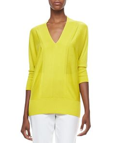 V-Neck+3/4-Sleeve+Sweater+by+Magaschoni+at+Neiman+Marcus.
