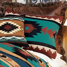 Turquoise Desert Tapestry Standard Sham - Western Home Decor Living Room Pink Bed Sheets, Western Bedroom Decor, Western Bedrooms, Rustic Bedrooms, Tinkerbell, Living Room Turquoise, Native American Decor, Black Forest Decor, Southwestern Decorating