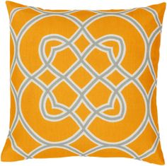 Modern Classic Accent Pillow in Tangerine, Ivory, & Gray | Luxurythrowpillows.com | CLICK HERE for more information | From $75 +