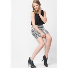Wavy Knit Crepe Chiffon Dress