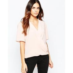 ASOS Short Sleeve Drape Wrap Blouse ($45) ❤ liked on Polyvore featuring tops, blouses, blush, asos tops, wrap blouse, v neck blouse, draped wrap blouse and wrap front top