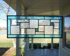 Stained Glass Panel Aqua Blue Window Transom by TheGlassShire Stained Glass Projects, Stained Glass Patterns, Window Panels, Window Coverings, Mosaic Glass, Glass Art, Mosaic Art, Indiana, Green Windows