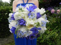Blue and white bouquet - hydrangea, delphinium, white peony and veronica