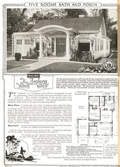 The Ardara first appeared in the 1921 Sears Modern Homes catalog. This site offers views of actual homes constructed.  Like the garage and over-window treatment