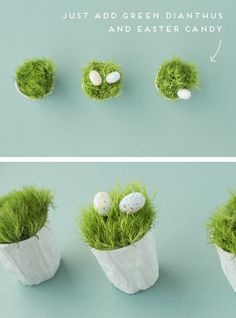 If you're looking for a more subtle Easter DIY, try this simple, 'flower basket' project using a couple of materials you probably already have around the house, plus two kind of flowers… Here's what you'll need to make your own… a fewcandle votives (mine are from CB2) // wood glue or craft glue scissors // …