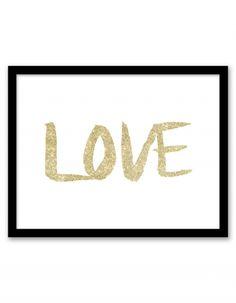 Free Printable Glitter Love Art from @chicfetti - easy wall art DIY
