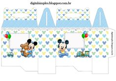 "Convites Digitais Simples: Kit Personalizados ""Mickey Mouse Baby Disney"" para Imprimir"