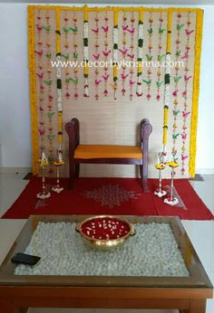 Desi Wedding Decor, Wedding Stage Design, Wedding Hall Decorations, Engagement Decorations, Backdrop Decorations, Flower Decorations, Ganpati Decoration At Home, Diwali Decorations At Home, Mandir Decoration