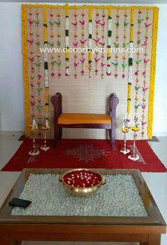 Desi Wedding Decor, Wedding Stage Design, Wedding Hall Decorations, Engagement Decorations, Backdrop Decorations, Flower Decorations, Flower Decoration For Ganpati, Diwali Decorations At Home, Housewarming Decorations
