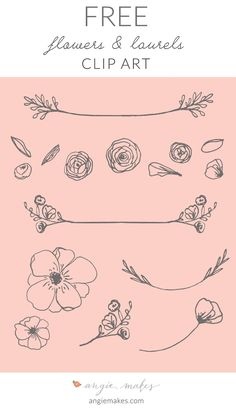 Free Laurel Clip Art For all You Lovely Readers! This Cute, Girly, and Feminine Free Laurel Clip Art + Flowers May be Perfect for Your Next Project. Free Flower Clipart, Cliparts Free, Girly, Webdesign Inspiration, Drawn Art, Motif Floral, Grafik Design, Flower Art, Graphics
