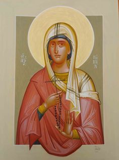 Nonna by George Kordis. The mother of Saint Gregory the Theologian. Saint Gregory, Byzantine Icons, Orthodox Christianity, Art Icon, Orthodox Icons, Iconic Women, Religious Art, Style Icons, Modern Art
