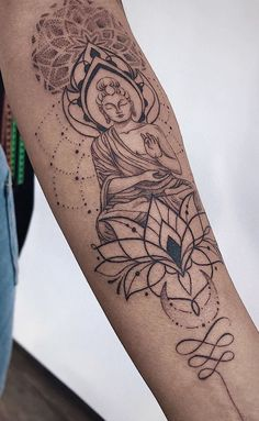delicate feminine buddhist tattoo: delicate arm small rib writing back shoulder flower drawing anima Tattoos Bein, Mini Tattoos, Cute Tattoos, Leg Tattoos, Beautiful Tattoos, Body Art Tattoos, Small Tattoos, Tattoos For Guys, Irezumi Tattoos