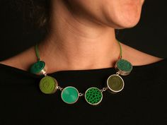 Necklace  Silver, plastic, felt, fabric, silicone by Laia Calatrava