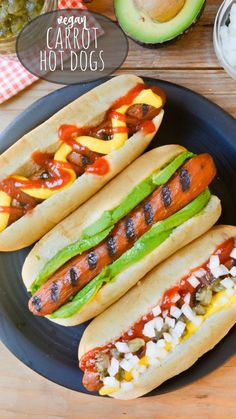 Vegan Carrot Hot Dogs taste just like a 'hot dog' and can be topped any way you like. They're a grill-able meatless alternative making them great for vegan summer BBQ's, parties, get togethers, picnics and more! Grilling, stovetop and oven directions are Dog Recipes, Vegan Recipes Easy, Grilling Recipes, Whole Food Recipes, Protein Recipes, Sandwich Recipes, Delicious Recipes, Carrot Dogs, Carrot Hot Dogs Recipe