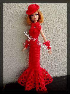#MoçaAntiga #Crochet #Cléa5 #Barbie #Doll #Muñeca #Hat #Chapéu #Sombrero #Vestido #RaquelGaucha
