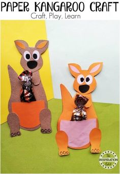 Kids Paper Kangaroo Craft Activity · The Inspiration Edit - kids craft - Have you ever been to Australia? Kids Kangaroo Paper Craft Idea – This is a simple, easy and fun - Ocean Animal Crafts, Animal Crafts For Kids, Crafts For Boys, Craft Activities For Kids, Christmas Crafts For Kids, Toddler Crafts, Preschool Crafts, Art For Kids, Craft Kids