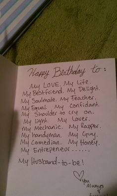 The inside of his 26th birthday card                                                                                                                                                                                 More