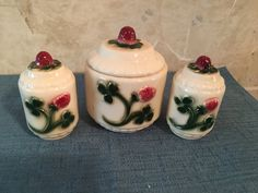 Berry Ceramic Sugar,Salt and Pepper Shakers by TheOleGrayMare on Etsy