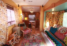 Happy Janssens: Modern nomadic living ~ This awesome room is actually a room inside a Custom Remodeled 2005 Keystone Montana RV! This interior design reminds me of a BoHo or gypsy traveling wagon & I'm in Love! (even though it was sold).