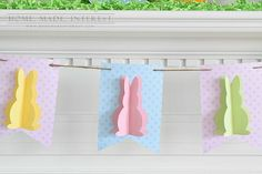 All you need to make this Easter bunny banner is some scrapbook paper and twine. Simple and cute Easter decor!