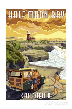 Half Moon Bay, California - Woody and Lighthouse Prints by Lantern Press at AllPosters.com