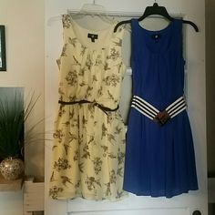 Two Brand New Dresses! Light yellow dress with birds and included belt, plus beautiful periwinkle blue dress, also with belt. These have no tags but are brand new as I had to detach the belts in order to get these photos. Flowy, fun fabric, perfect for warm weather days! Iz Byer Dresses Midi