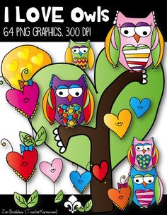 I LOVE Owls Doodles Clip Art Set.  This little guys are just perfect for adding to your teaching materials and products.  The hearts will also compliment any Valentine's Day materials.  TeacherKarma.com #Owls #clipart