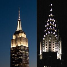 The iconic Empire State Building & The Chyrsler Building are my favorite  beacons of light in the New York skyline.