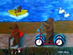Gamla björnar på väg hem, pastell på papper. Old bears on their way home, pastel on paper.