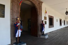 Guards protecting the presidential palace in Quito.