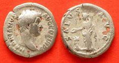 134-138 Roman Imperial HADRIAN AR Denar 134-138 SALVS AVG COS III # 68872 s-ss