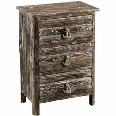 "Fir wood chest with three drawers and anchor-shaped pulls.Product: ChestConstruction Material: Fir wood and ropeColor: Weathered brownFeatures: Three drawersEye-catching designAnchor-shaped pullsDimensions: 29.25"" H x 20.75"" W x 12.75"" DNote: This item has a distressed finish.  Each piece will have an antiqued look all its own."