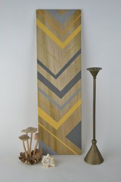 Hand painted geometric wood art in grey & by DewyBranchDesign, $50.00